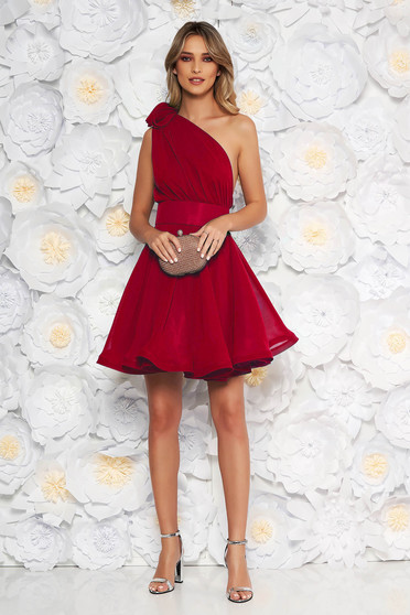 Ana Radu occasional burgundy one shoulder cloche dress