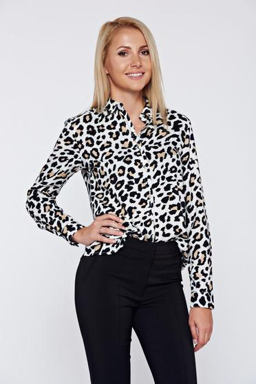 Top Secret black office flared women`s shirt with long sleeves