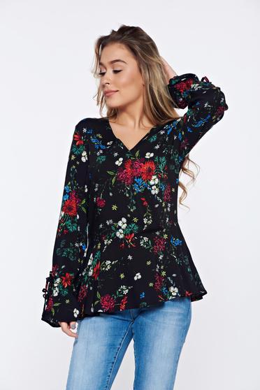 Top Secret black elegant frilled women`s shirt with floral print