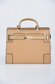 Cream office bag short handles