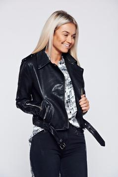 Casual ecological leather black jacket accessorized with tied waistband