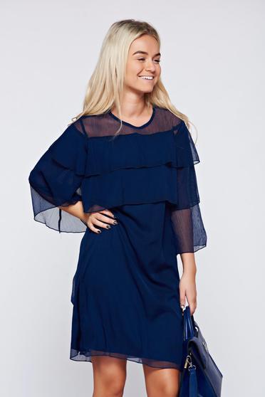 Top Secret darkblue veil flared dress with bell sleeves