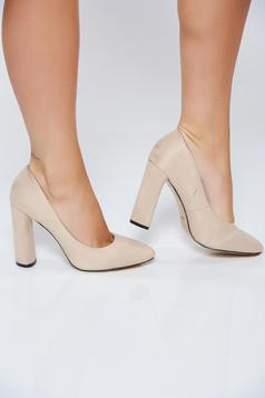 Cream office high heels ecological leather shoes