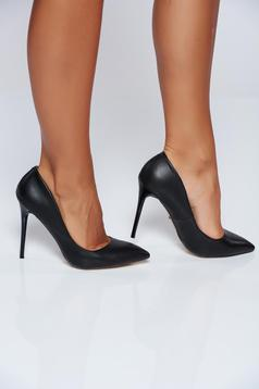Office high heels ecological leather black stiletto shoes