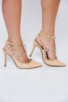 Stiletto elegant cream shoes from ecological varnished leather with thin straps