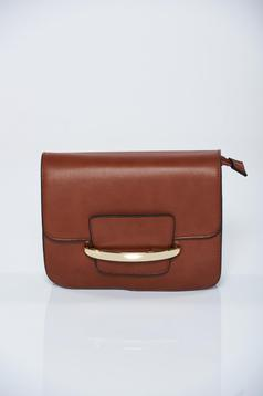 Ecological leather brown casual bag with metalic accessory