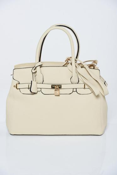 Nude office bag with metalic accessory
