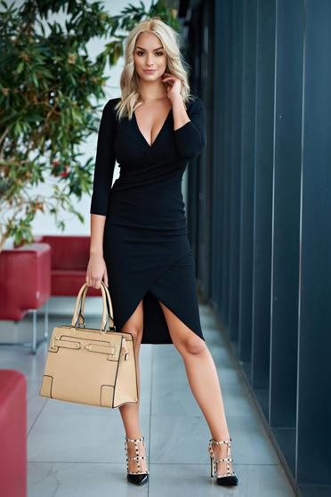 StarShinerS office black pencil wrap around dress