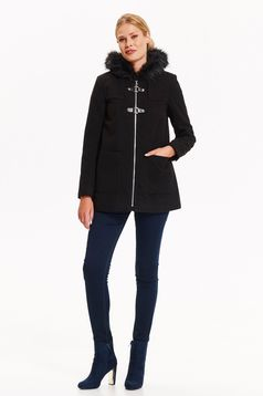 Black coat short cut flared with pockets with furry hood zipper fastening casual