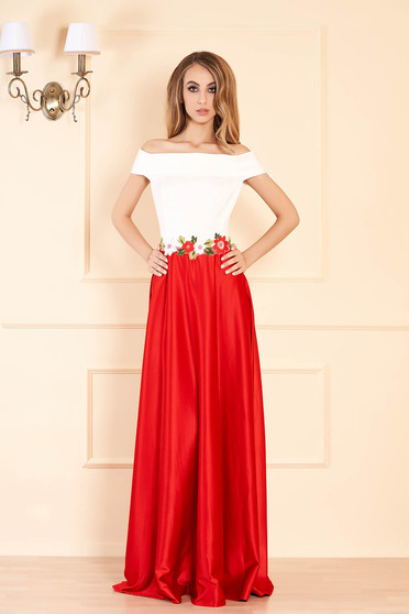 Artista red dress embroidery details with satin fabric texture