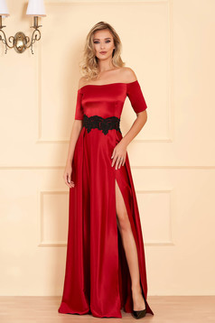 Artista occasional burgundy dress with satin fabric texture embroidery details