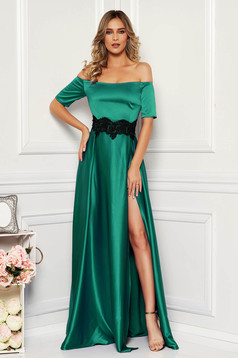 Artista occasional green dress with satin fabric texture embroidery details