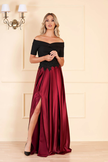 Occasional Artista burgundy dress with satin fabric texture embroidery details