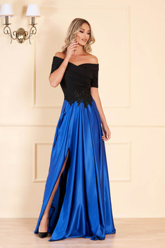 Occasional Artista blue dress with satin fabric texture embroidery details