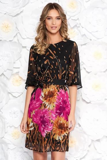 StarShinerS brown elegant daily voile fabric dress with floral prints
