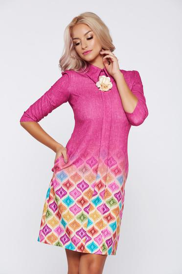 Fofy fuchsia office dress pointed collar 3/4 sleeves