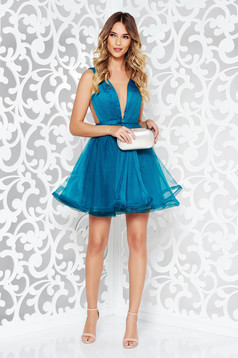 Ana Radu cloche turquoise luxurious dress with a cleavage from tulle with inside lining accessorized with tied waistband