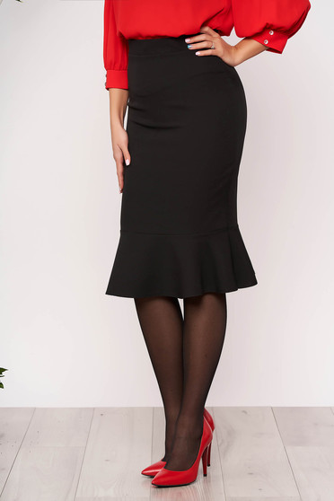 StarShinerS black office pencil skirt with ruffle details