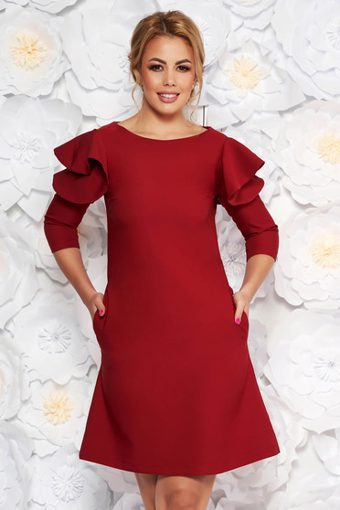 LaDonna easy cut burgundy elegant dress with ruffled sleeves