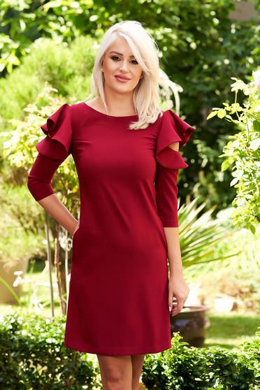 Burgundy daily elegant a-line dress slightly elastic fabric with ruffled sleeves