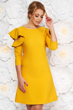 LaDonna easy cut mustard elegant dress with ruffled sleeves