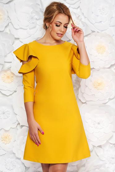 LaDonna easy cut mustard elegant dress with ruffled sleeves