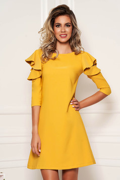 Mustard daily elegant a-line dress slightly elastic fabric with ruffled sleeves