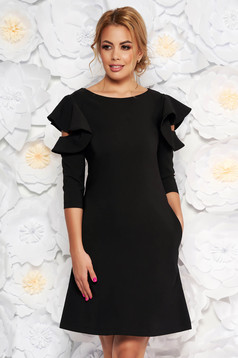 LaDonna easy cut black elegant dress with ruffled sleeves