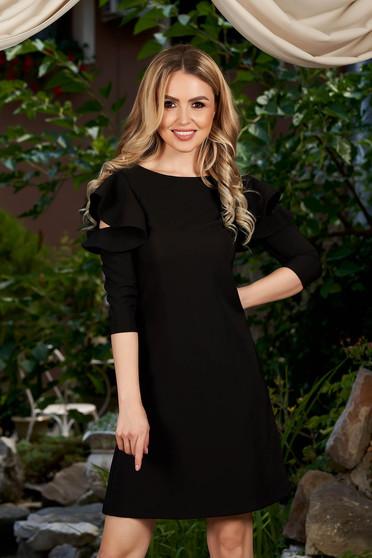 LaDonna easy cut black elegant dress with ruffled sleeves