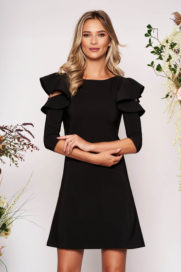 Black daily elegant a-line dress slightly elastic fabric with ruffled sleeves