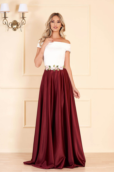 Artista burgundy dress embroidery details with satin fabric texture