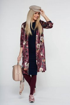 PrettyGirl burgundy velvet casual jacket with floral prints