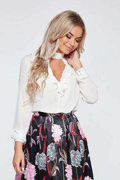 PrettyGirl white elegant voile fabric women`s blouse with v-neckline