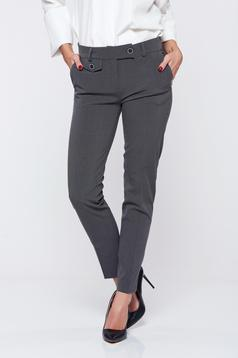 PrettyGirl grey office trousers with medium waist front pockets