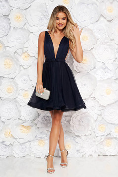 Ana Radu cloche darkblue luxurious dress with a cleavage from tulle with inside lining accessorized with tied waistband