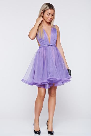 Ana Radu cloche lila luxurious dress with a cleavage from tulle with inside lining accessorized with tied waistband