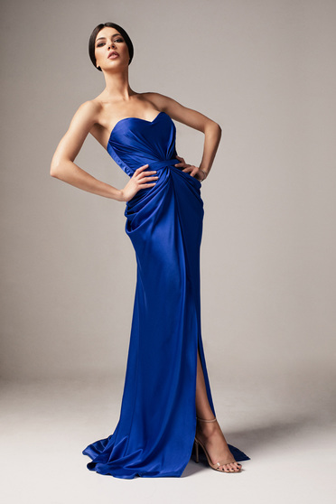 Ana Radu luxurious off shoulder dress from satin fabric texture with push-up bra accessorized with tied waistband blue