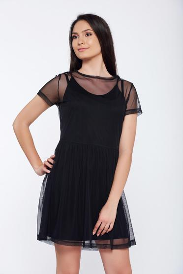 Top Secret black casual flared tulle dress