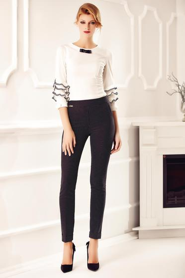 Black trousers office elegant conical dots print