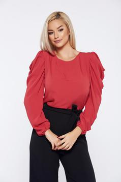 StarShinerS fall in love elegant coral women`s blouse with wrinkled sleeves