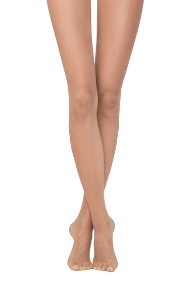 Nude fitted heel net women`s tights