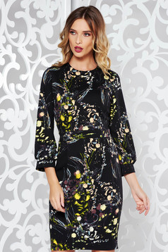 PrettyGirl black pencil dress with floral prints