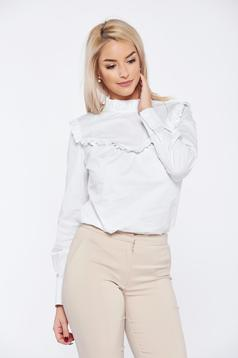 PrettyGirl white office long sleeve women`s shirt without buttons