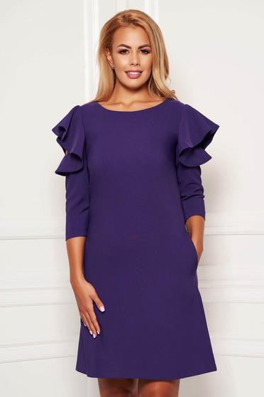 Purple daily elegant a-line dress slightly elastic fabric with ruffled sleeves