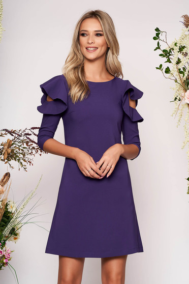 Purple daily elegant a-line dress slightly elastic fabric with ruffled sleeves
