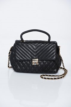 Black casual ecological leather bag a compartment with internal pockets