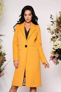 LaDonna casual straight with pockets mustard yellow coat from wool