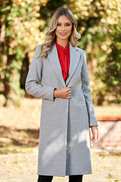 LaDonna casual straight with pockets grey coat from wool