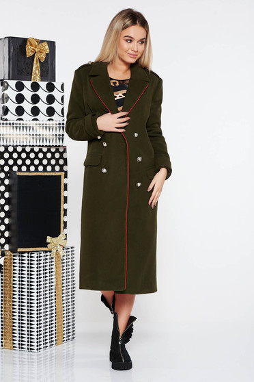 LaDonna darkgreen casual straight coat from wool with button accessories