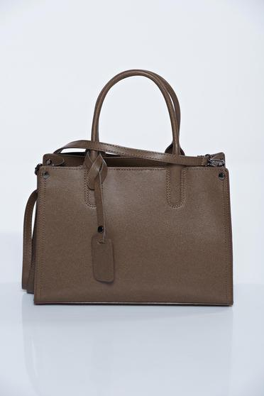 Brown office natural leather bag with medium handles